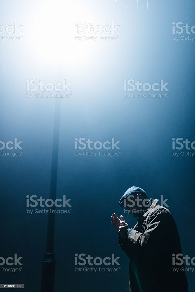 There is light in complete darkness stock photo