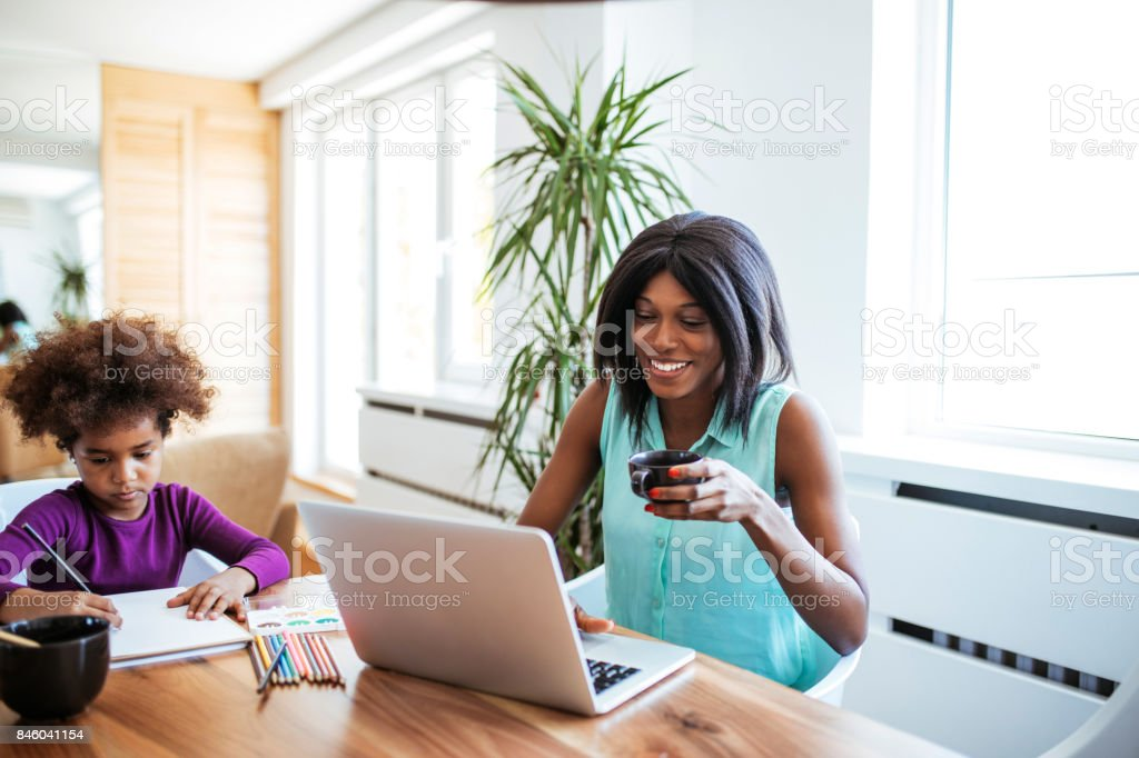 There is so much joy in being a mother stock photo