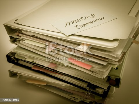 istock There is the huge pile of business documents on the desk. 853376386