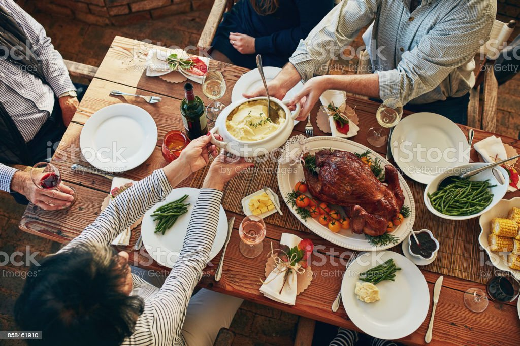 There won't be any leftovers at this table! stock photo