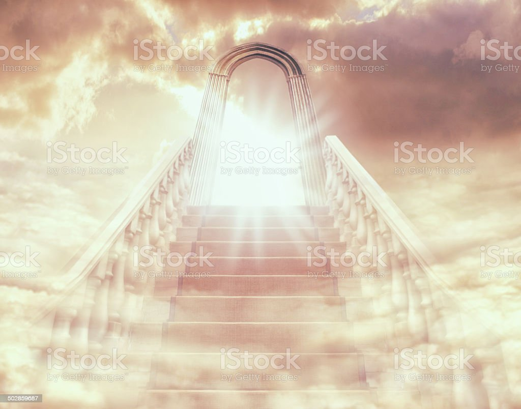 There's a light at the end of the stairway stock photo