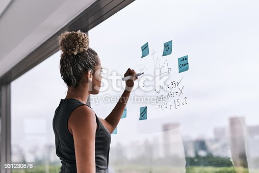 Shot of a young businesswoman writing on a glass wall in an office