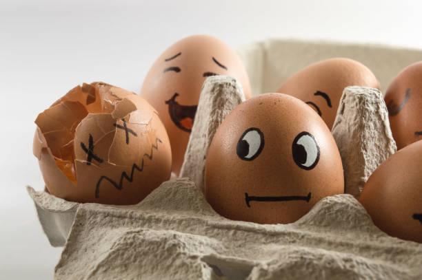 theres always one broken egg - zum totlachen stock-fotos und bilder