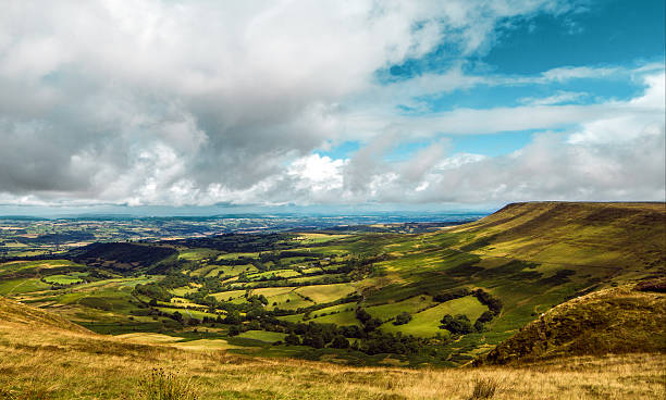 Hay Bluff Hay Bluff and the Wye valley as seen from top of Twmpa brecon beacons stock pictures, royalty-free photos & images