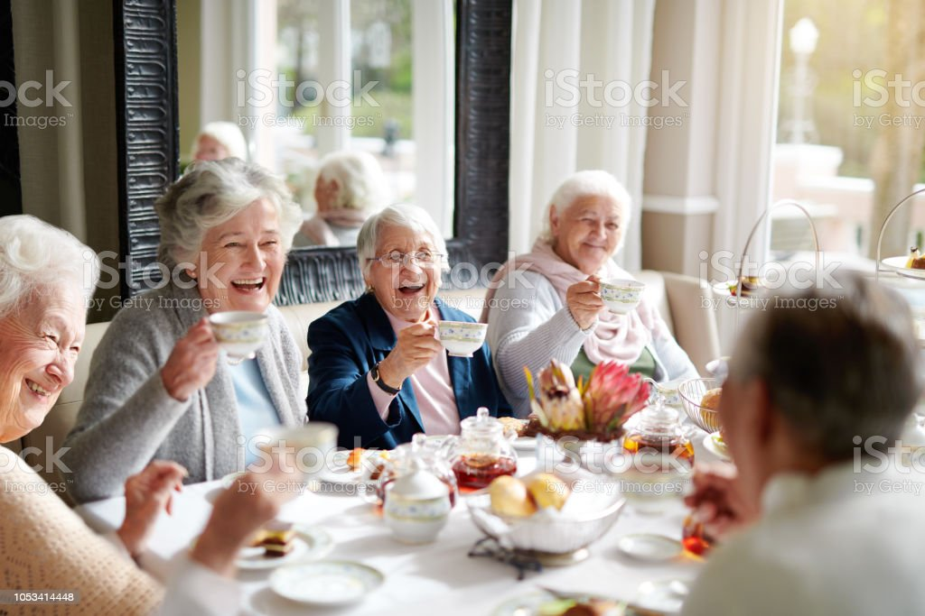 There's nothing like a good old tea party! stock photo