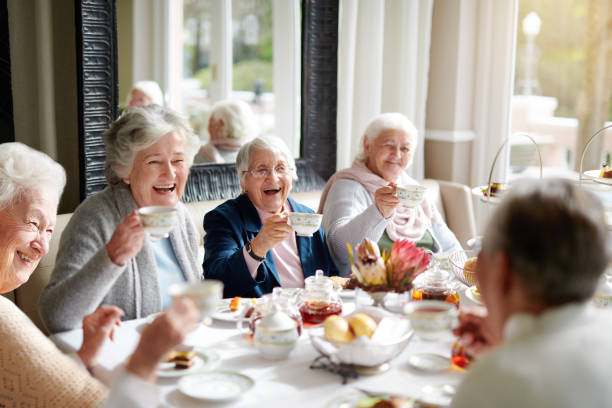 there's nothing like a good old tea party! - geriatrics stock pictures, royalty-free photos & images