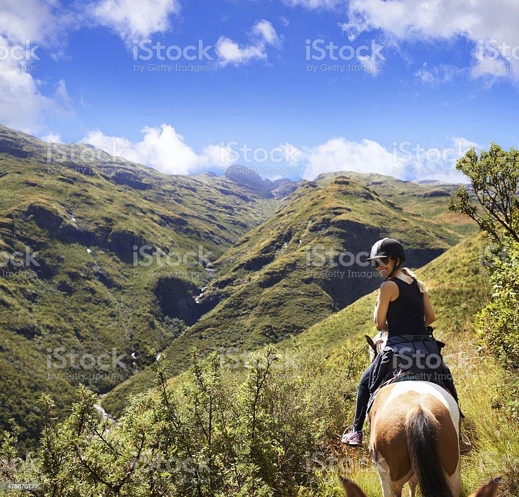 There's nothing like exploring nature on horseback stock photo