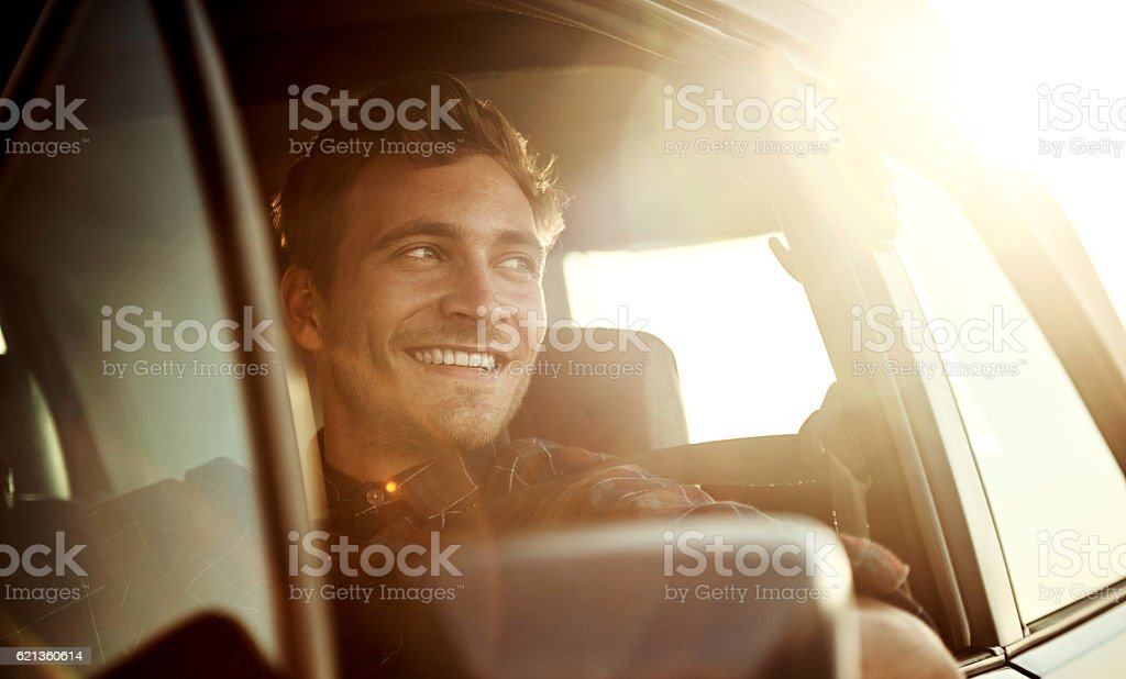 There's nothing quite like a roadtrip at sunset stock photo