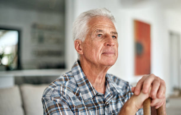 There's so much to be thankful for Shot of a senior man sitting at home one senior man only stock pictures, royalty-free photos & images