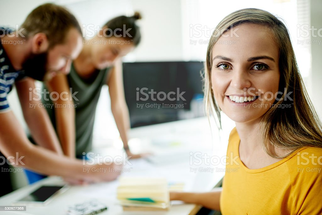 There's some excellent work going on behind me stock photo