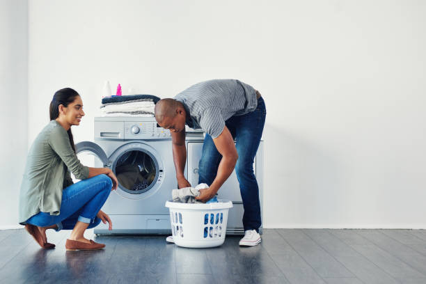 There's something attractive about men doing chores stock photo