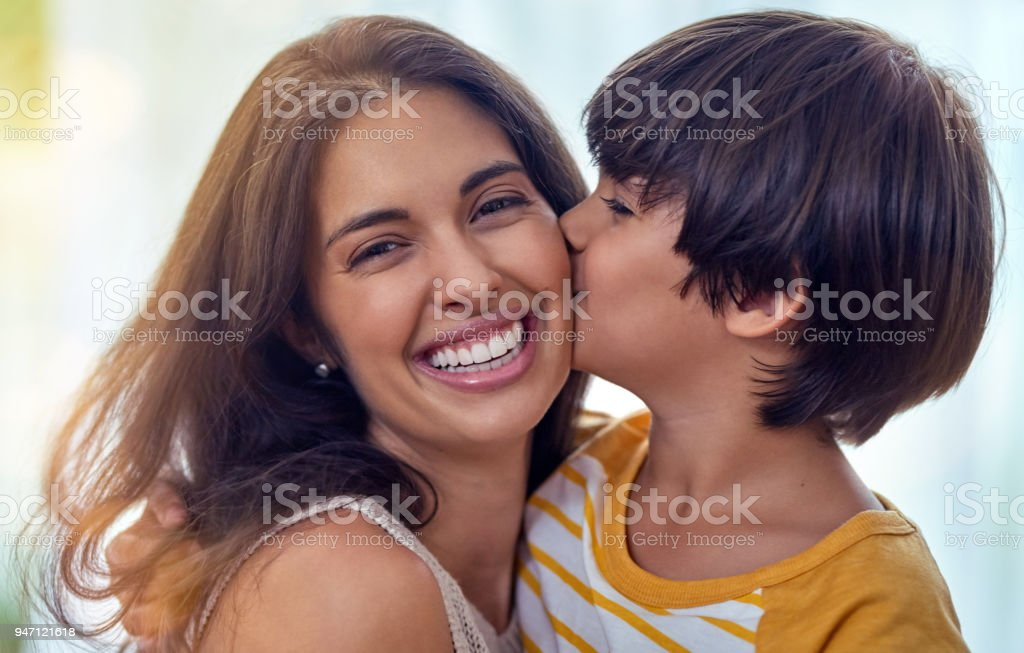 There's something extra special about the mother son connection stock photo