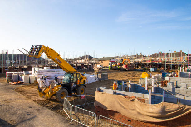 Theresa May Set to Announce Plans to Build More Rented Homes- Construction Underway in County Durham. stock photo
