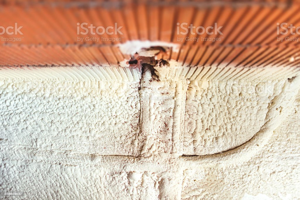 thermal and hidro insulation foam covering pipes and electric lines stock photo