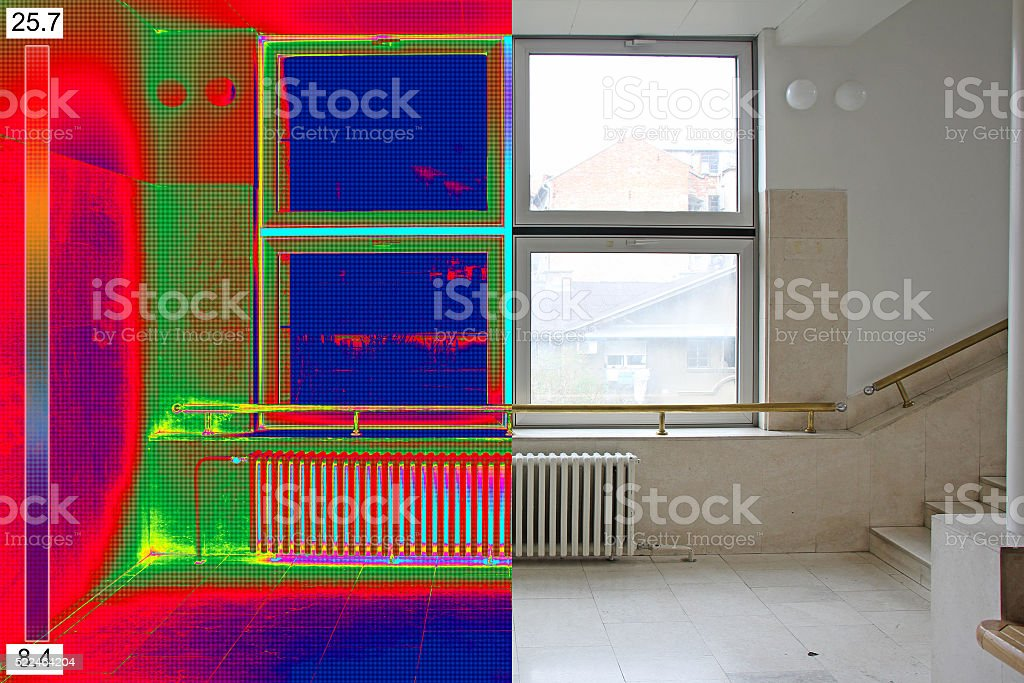 Thermal and real Image of Radiator Heater stock photo