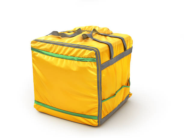 Thermal backpack for contactless food delivery to customers home. Online ordering food. 3d illustration stock photo