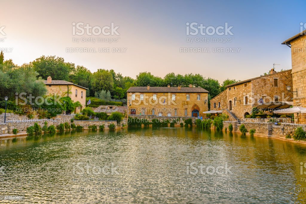 Thermal baths in Bagno Vignoni, Tuscany. stock photo
