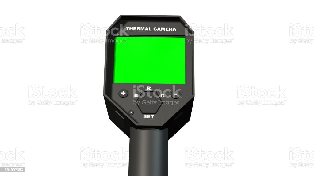 Thermal Camera with empty green screen Display - isolated on white stock photo