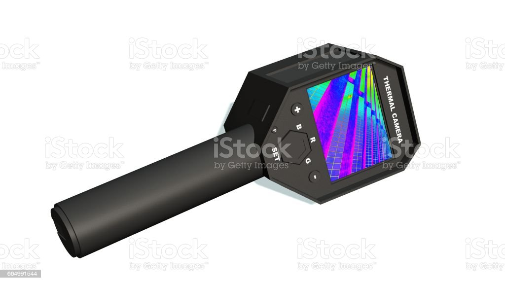 Thermal Camera with Thermographic picture on the Display - isolated on white stock photo