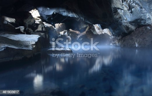Hot spring in cave.