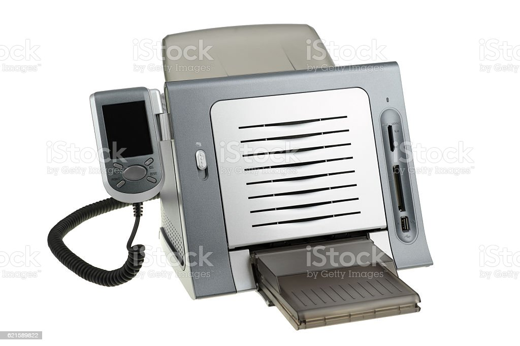 Thermal dye sublimation printer isolated on white stock photo