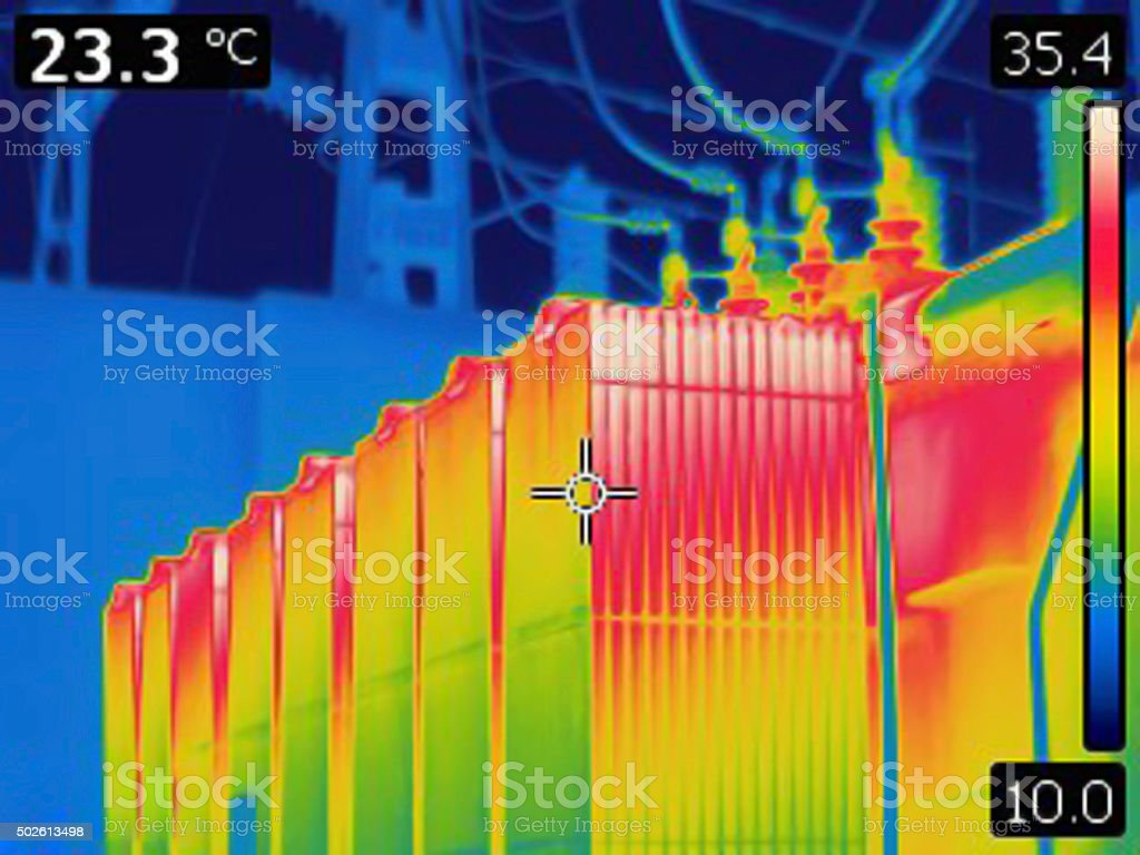 Thermal image of electrical transformer stock photo