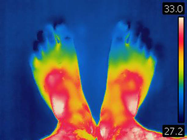 Thermal image of human feet. Shows loss of body heat in human legs. Personal perspective view. stock photo