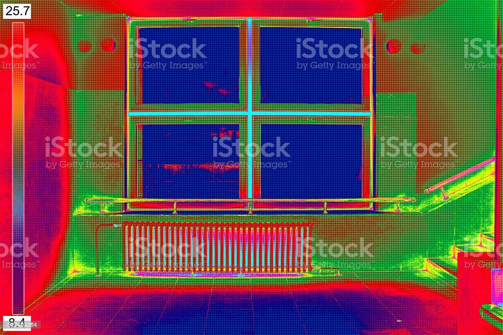 Thermal Image of Radiator Heater stock photo