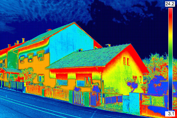 Thermal image on House stock photo