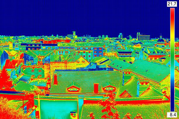 Thermal image panorama of Zagreb stock photo