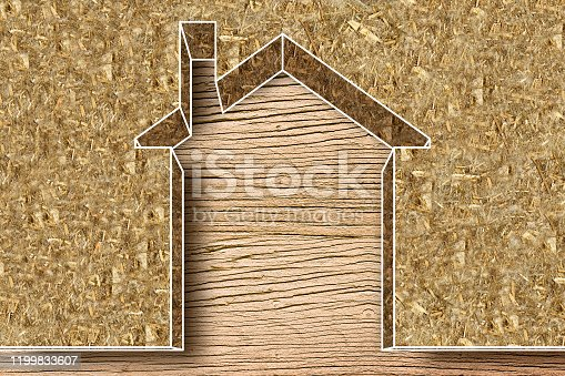 Thermal insulation coatings for residential construction with hemp fiber to reduce thermal losses against a wooden construction structure - Building energy efficiency and environmentally friendly concept image with copy space.