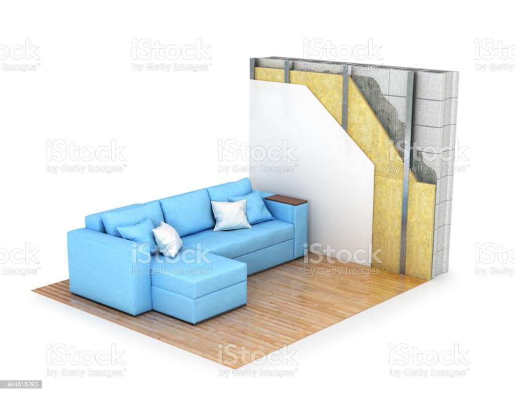 Thermal Insulation. Cross Section Of The Wall, Interior With A Sofa. 3d