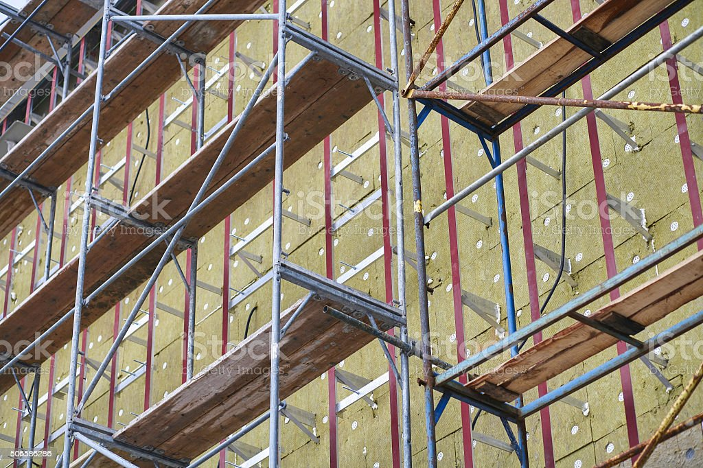 Thermal insulation of building walls stock photo