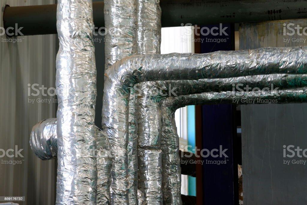 Thermische Isolierung Rohr, Closeup Fotos – Foto