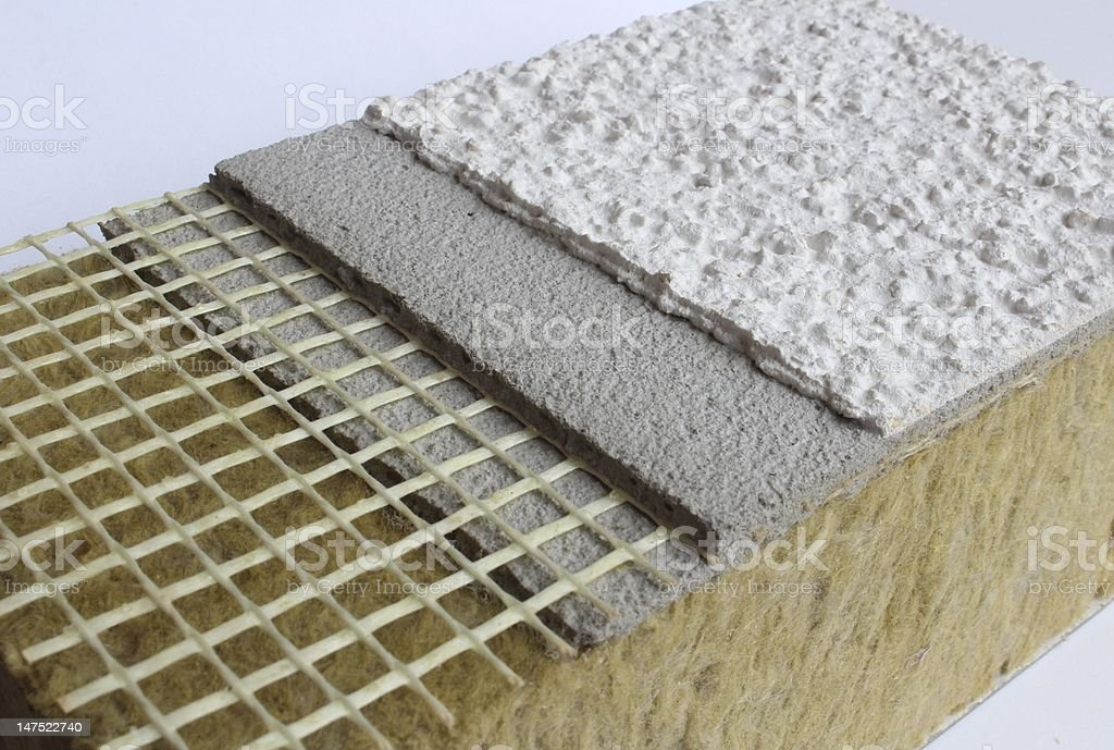 thermal insulation with plaster stock photo