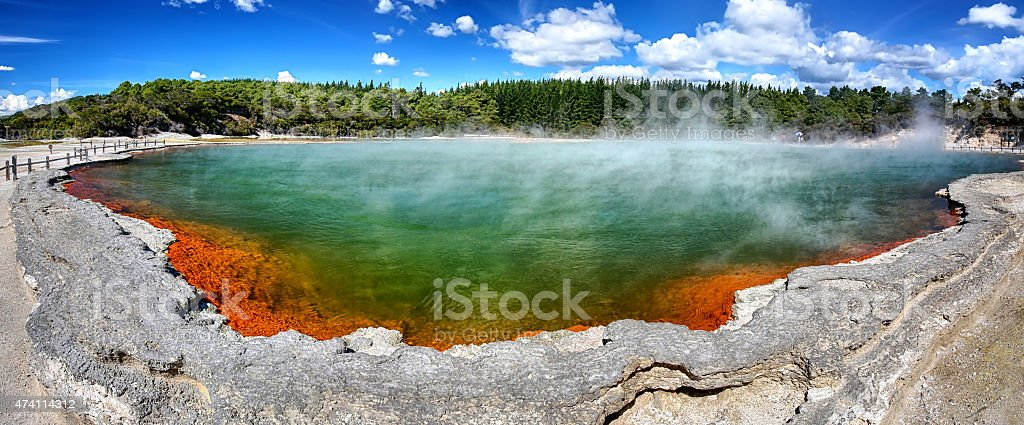 Thermal lake Champagne Pool at Wai-O-Tapu, New Zealand stock photo