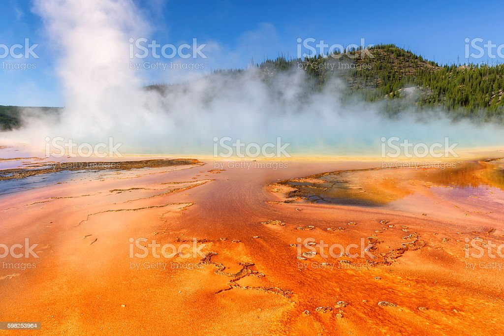 Thermal pool Grand Prismatic Spring in Yellowstone National Park stock photo
