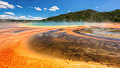 The famous and largest hot spring in Yellowstone National Park - the Grand Prismatic.