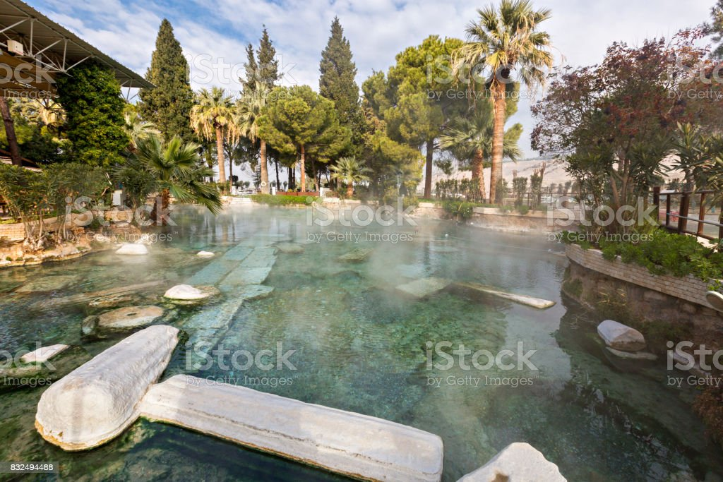 Thermal pool with ruins, Pamukkale, Turkey stock photo