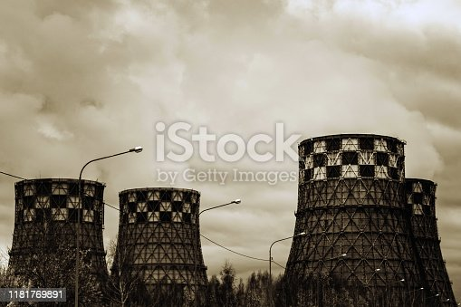istock Thermal power plant, which not only produces electricity, but also is a source of thermal energy in centralized heat supply systems 1181769891