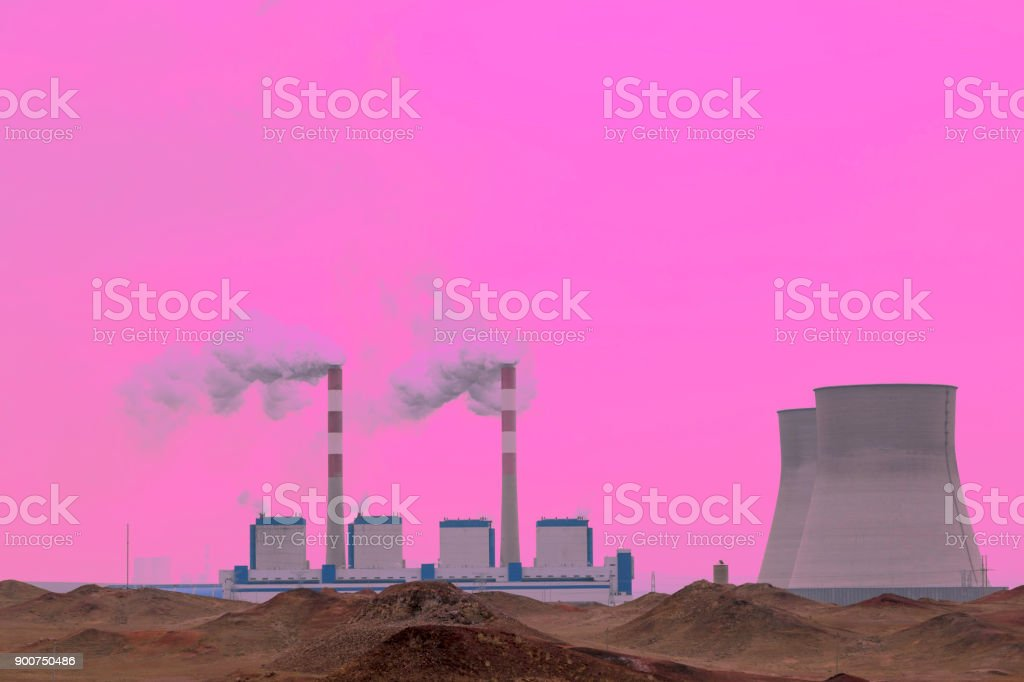 Thermal power plant winter picture stock photo