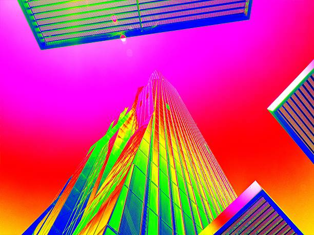Thermal scan of  skyscraper sticking into sky. High concrete building. stock photo