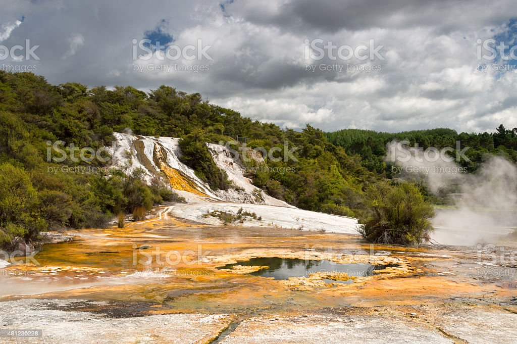 Thermal springs in New Zealand stock photo