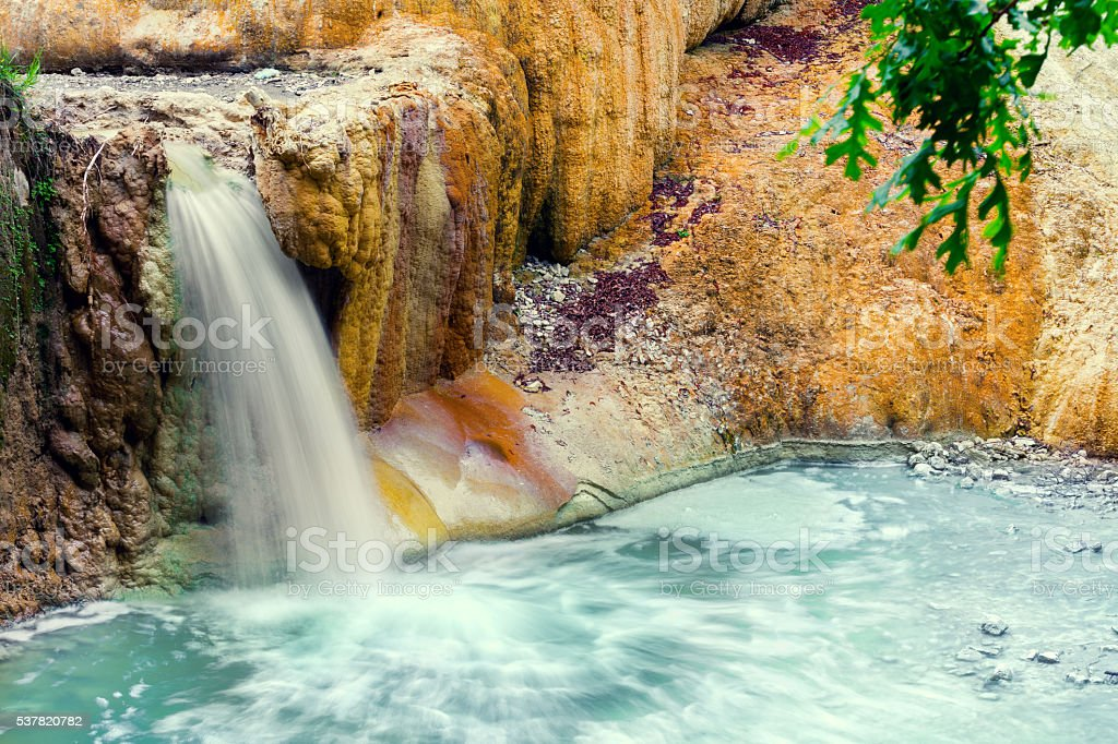thermal springs San Filippo in Val D'Orcia, Italy stock photo