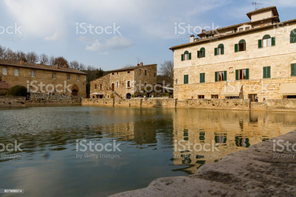Thermal Water Pool In Bagno Vignoni stock photo