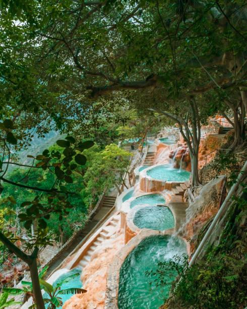 Thermal water pools in Tolantongo, Mexico stock photo