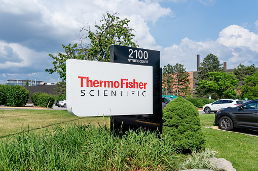 Mississauga, ON, Canada - June 13, 2021: Thermo Fisher Scientific Canada office  in Mississauga, ON, Canada. Thermo Fisher Scientific is an American healthcare distributor and biotechnology company.