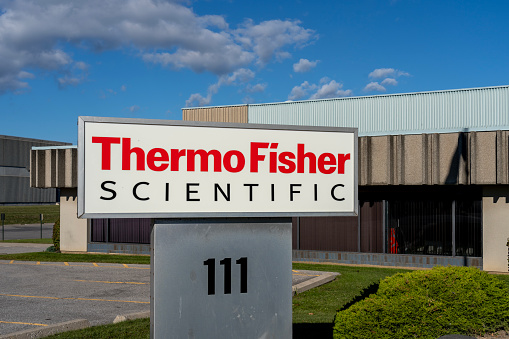 Whitby, On, Canada - September 20, 2020: Thermo Fisher Scientific office in Whitby, On, Canada. Thermo Fisher Scientific is an American biotechnology product development company.