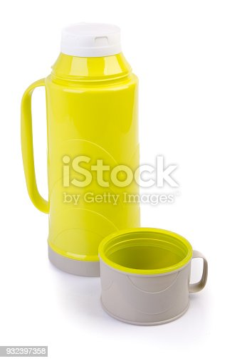 1135476970istockphoto Thermo flask on background. 932397358