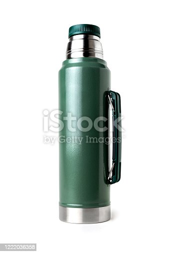 Green vacuum insulated bottle, isolated on a white background with clipping path.